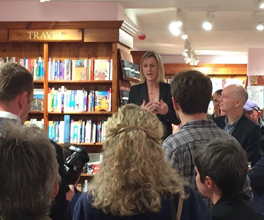 Jojo Moyes addressing the audience at Hart's Books Opening evening